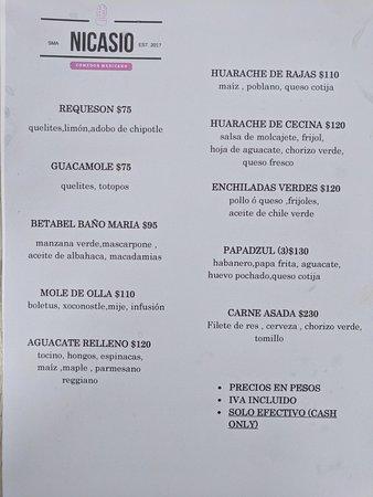 Menu - Picture of Nicasio Comedor Mexicano, San Miguel de Allende ...