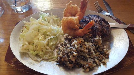 Barnes, WI: Filet with Shrimp, Wild Rice Pilaf, and Seasonal Veggie