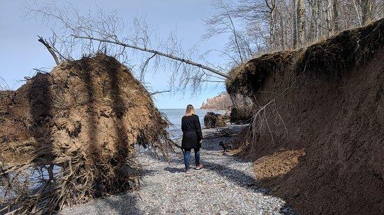 Wolcott, นิวยอร์ก: Beach trail - March 2018 - a bit dangerous