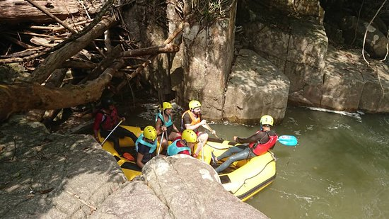 Rafting down the Slim River Perak.
