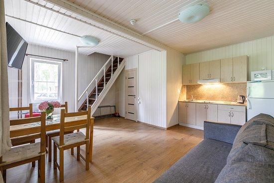Holiday Park Zhemchuzhina: Гостиная зона шестиместного апартамента с кухней, столом, и двуспальным диваном.