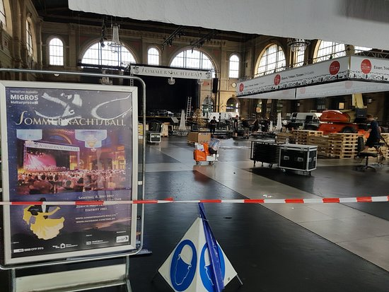 Lucerne Station: Setting up the stage area for the Ball