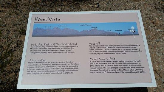 Chihuahuan Desert Nature Park: West Vista sign