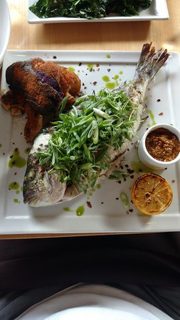 Jimmy's Bodega : whole roasted fish with smashed potatoes, julienned micro greeens