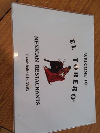 El Torero Mexican Restaurant: menu