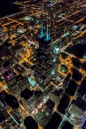 Chicago Helicopter Experience: Chicago skyline at night