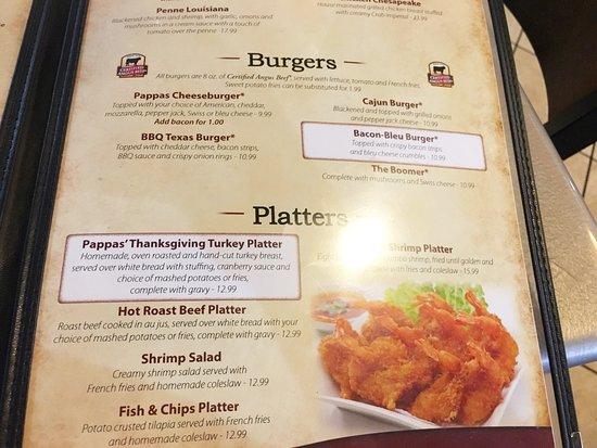Glen Burnie, Μέριλαντ: Menu: Burgers, Platters