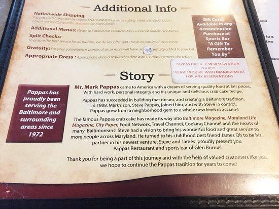 Glen Burnie, Μέριλαντ: Menu: Story
