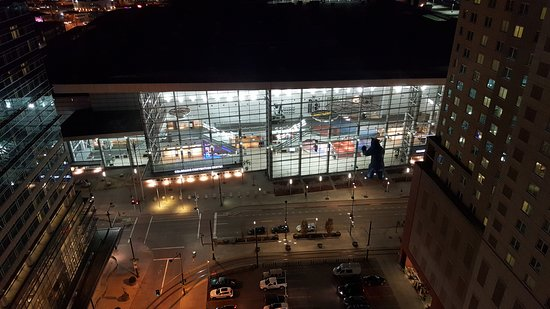View From The Roof Deck Bar Into The Convention Center Across The