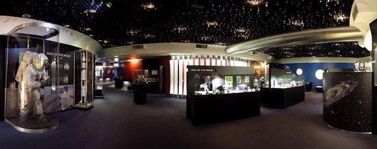 The Foyer of the Sir Thomas Brisbane Planetarium has many spaceflight exhibits.