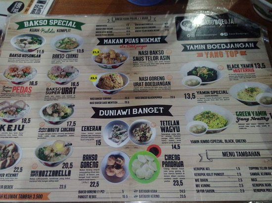 Bakso Boedjangan: The menu