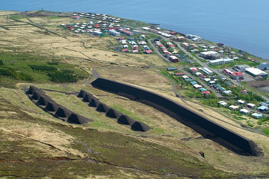 Neskaupstadur, Izland: The Avalance Defence Structures from air