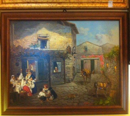 Maison Altieri: Quadro che raffigura un  tipico Cortile dell'Ottocento ....
