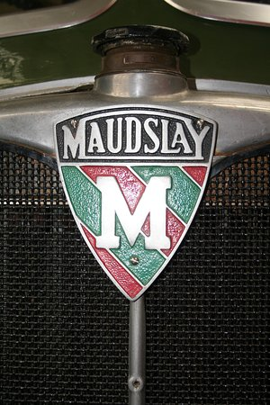 Canvey Island Transport Museum: Maudslay badge on a Post Office Stores lorry