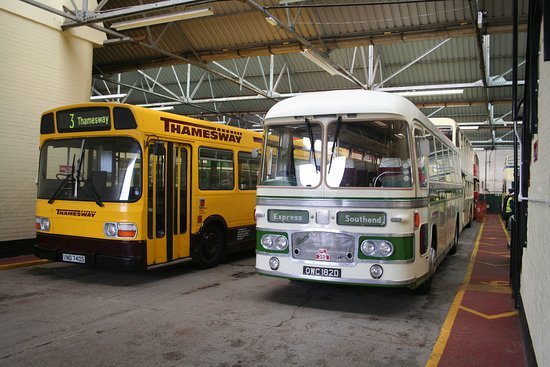Canvey Island Transport Museum: 1970s Leyland National bus and 1966 Bristol MW coach