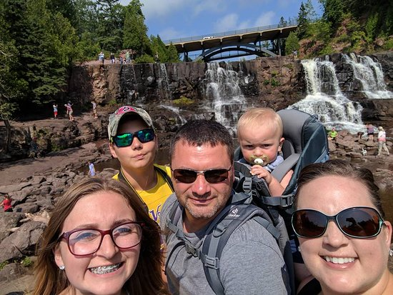 Gooseberry Falls State Park: Most of the family with the falls in the background!