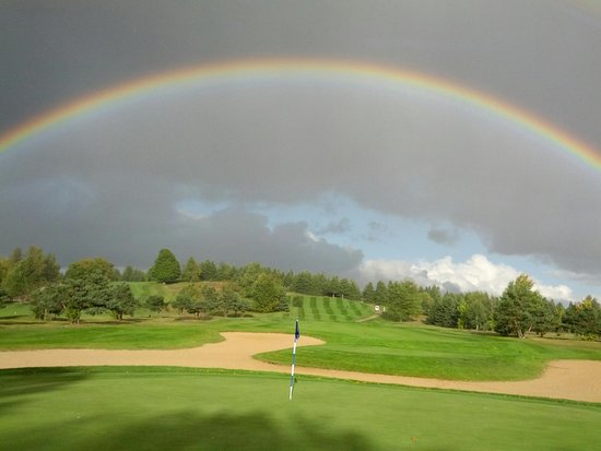 Kalkaska, MI: Rainbow over Timber Wolf Golf Club