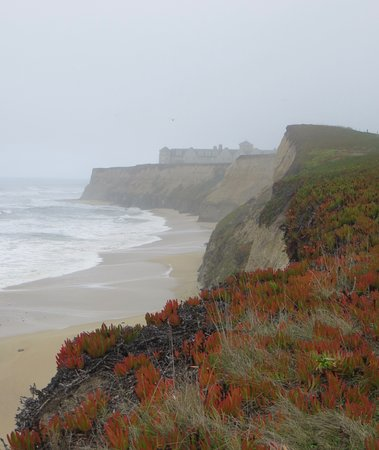 The Ritz-Carlton, Half Moon Bay: looking north from walking path with Ritz in the background