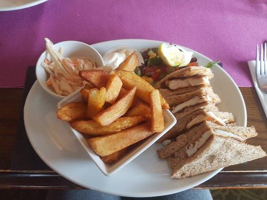 Junction Inn: Cheese & onion pie & homemadr chips & cajun chicken on brown hot sandwich