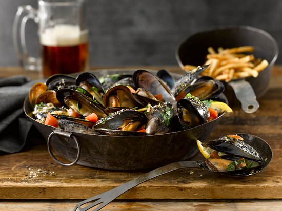 Wayne, PA: Our PEI Mussels with White Wine Garlic, Parsley, Red Pepper Flakes, Toasted Sesame Ginger, Fries