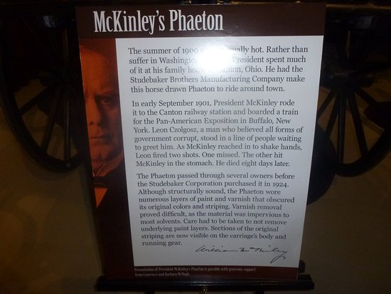 Theodore Roosevelt Inaugural National Historic Site: Storyboard - Studebaker Museum re: McKinley Carriage
