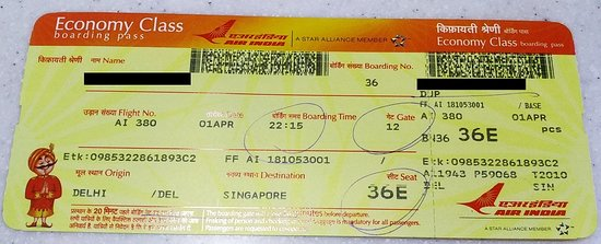 Boarding Pass Picture Of Air India World Tripadvisor