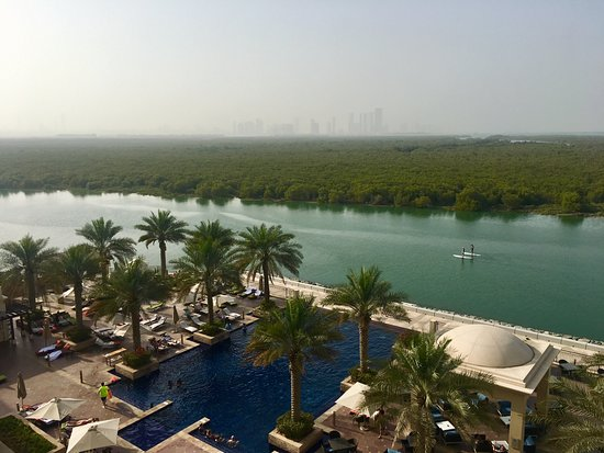 Bedroom view overlooking pool and mangroves