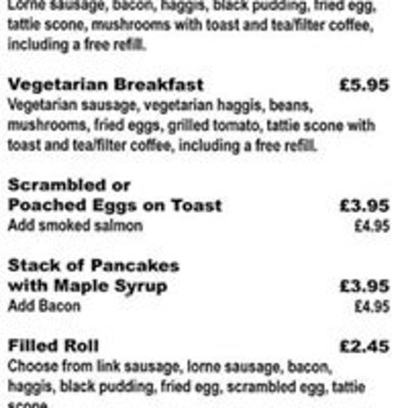Freuchie, UK: Breakfast Menu