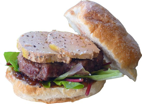 Gimont, Francja: Rossini : burger 100 % canard de fabrication maison, accompagné de son foie gras mi cuit et chut