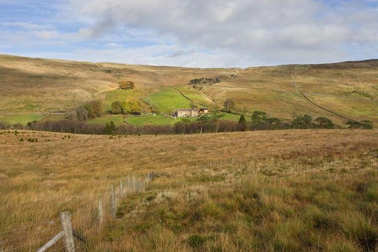 Buckden, UK: Distant view of Nethergill Farm