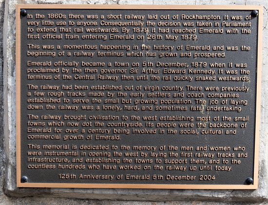 Emerald Train Station: plaque information