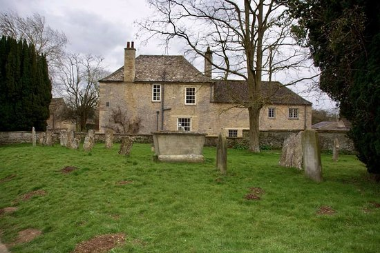 Bampton, UK: View of Mrs Crawley's House from the churchyard