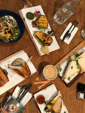 Slap and Pickle Sandwich & Tapas Bar : a table spread