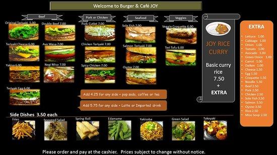 Burger and Cafe Joy : menu