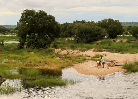 Zambezi National Park, Zimbabwe: The sand banks on the Zambezi River are a beautiful spot for our Popup Spa Treatments (request o