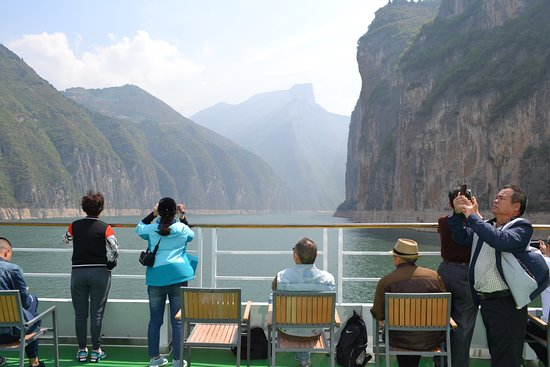 Three Gorges: On board the Yangtze Gold 7 as we go through one of the gorges.