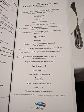 Milos: Amazing lunch menu for only $25 in February 2018.