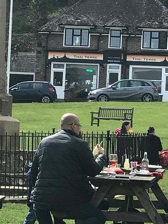 East Dean, UK: view opposite when sitting outside pub - Thai restaurant