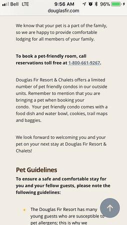 Douglas Fir Resort & Chalets: More lies about the pet perks they offer