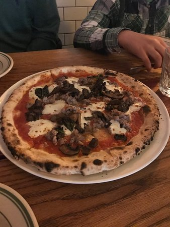 Wood Fired Pizza With Mushrooms And Wild Boar Sausage Perfect