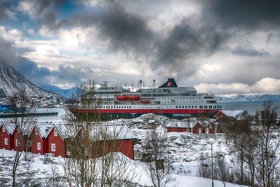 Stokmarknes, Norwegia: uitzicht uit hotel kamer