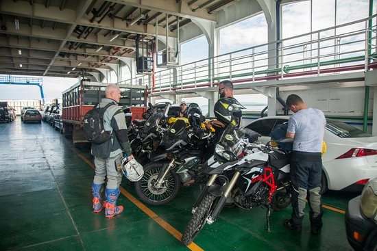 Elephant Moto: Resting at the ferry before the action continues!
