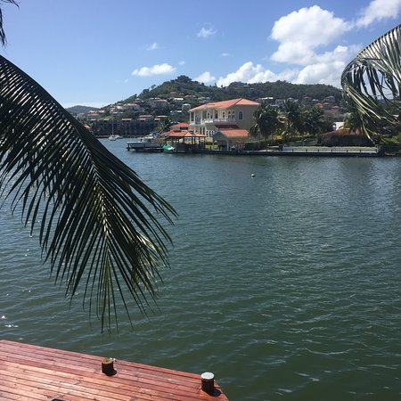 Harmony Suites: View from #21. Beautiful view of Rodney Bay Marina and City.