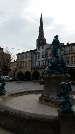 Limoux, France: View of the Steeple from Place de la Republic