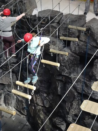 Llangorse, UK: on the high wire