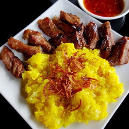 Grilled Pork Neck with Yellow Sticky Rice
