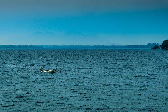 North Central Province, Sri Lanka: On our way back from the Avukana Buddha Statue drivng past Lake Kala Wewa