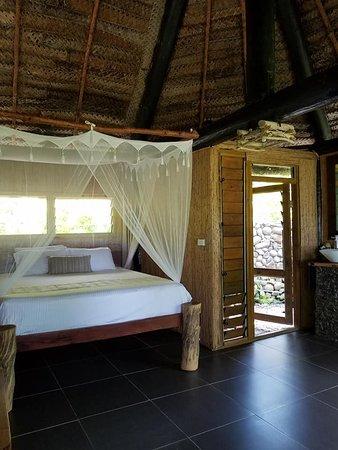 Qamea Island, Fiyi: This is the bedroom in bure 3. Beautiful.