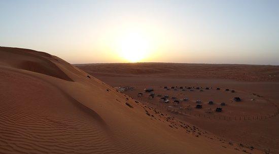 Ghuwayfat al Habb, Oman: Dune above camp at sunset