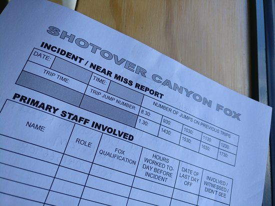 Shotover Canyon Swing & Canyon Fox: Incident report form
